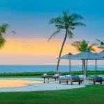 15. Atas Ombak Sunset over the pool