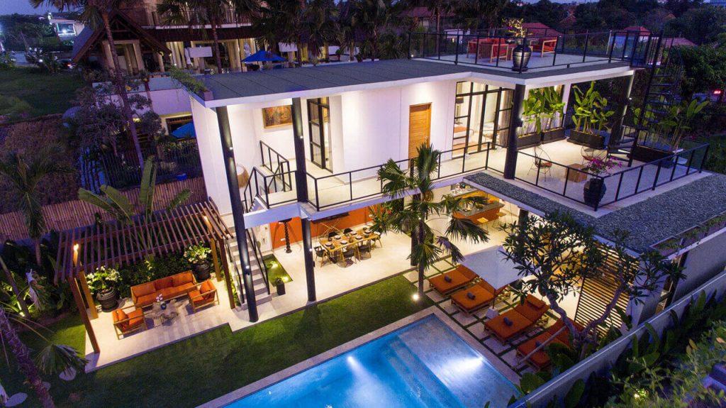Villa Boa at Canggu Beachside Villas Aerial shot at dusk