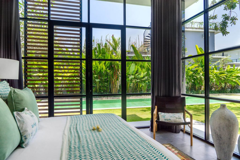 Villa Gu at Canggu Beachside Villas Guest bedroom view to the pool